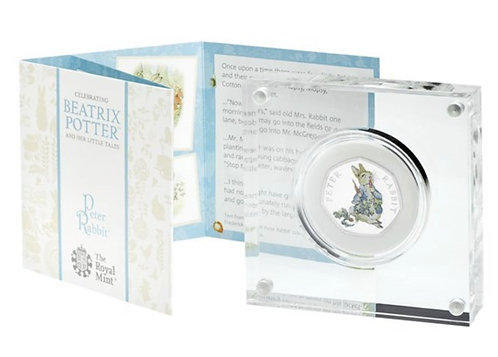 Silver Proof Coloured Peter Rabbit 50 Pence Beatrix Potter 2018