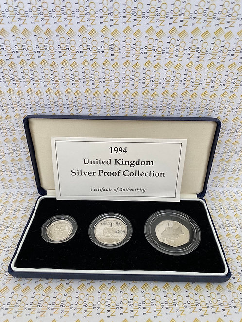1994 ROYAL MINT UK SILVER PROOF COLLECTION - Bank £2, Scottish £1 & D-Day 50p
