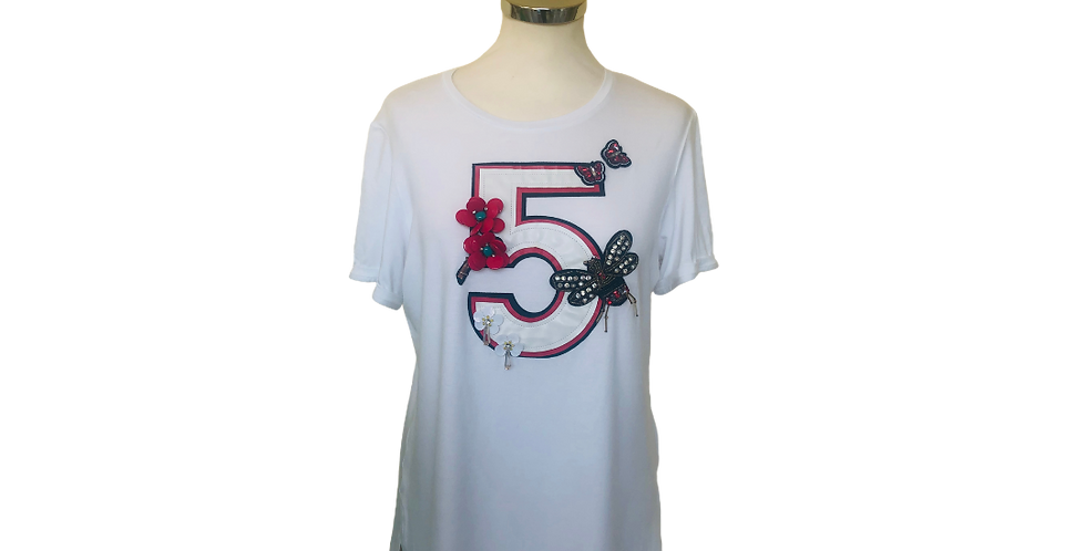 Paolo Petrone White Embroidery T-Shirt