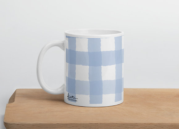 New England Blue Gingham Coffee Mug