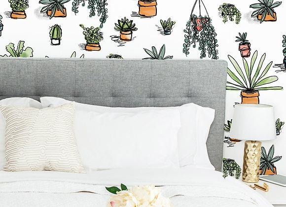 Succulent Eco-Friendly Wallpaper
