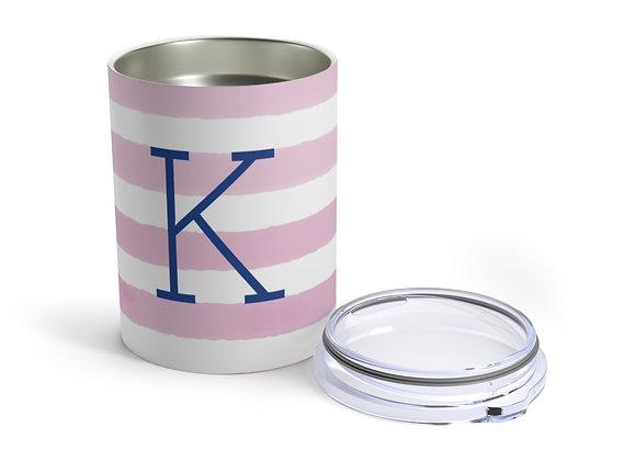 Monogram Baby Pink Watercolor Stripe Tumbler 10oz