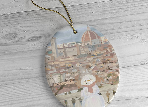 Snowman in Florence Italy Ceramic Ornament
