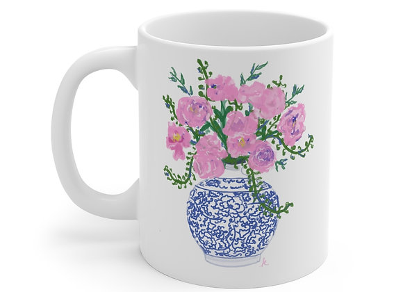 Pink Peonies in a Blue and White Ming Vase Coffee Mug 11oz
