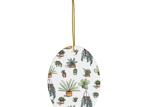 Succulent Pattern Ceramic Ornament