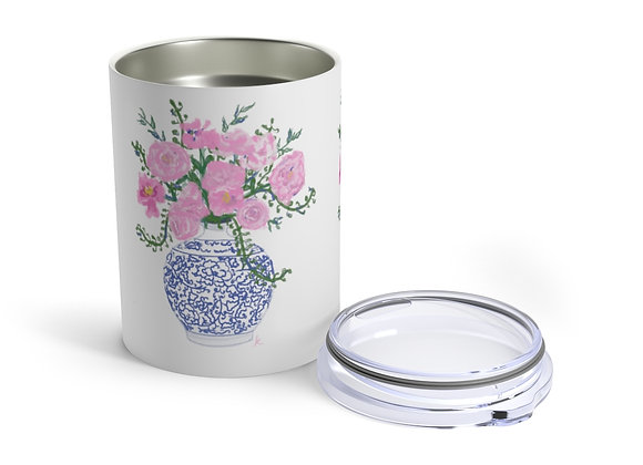 Pink Peonies in a Blue and White Ming Vase Tumbler 10oz