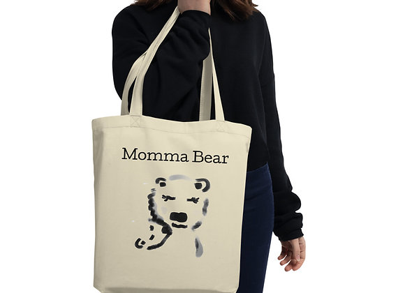 Momma Bear Large Organic Tote Bag with Polar Bear Momma and Baby Illustration