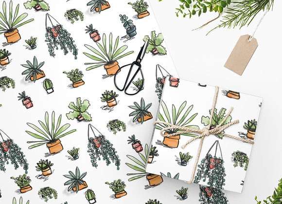Succulent Plant Pattern Wrapping Paper