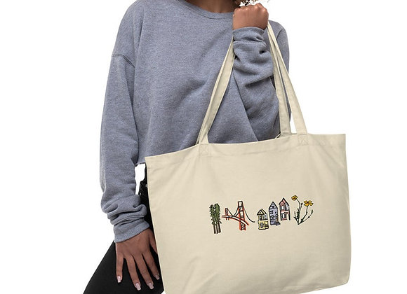 Large, Single Sided Print, Colored San Francisco Organic Cotton Tote