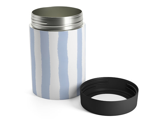 New England Blue Watercolor Stripe Beer Can Holder