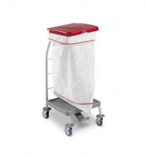 Тележка с педалью и красной крышкой для перевозки мусора TTS Dust