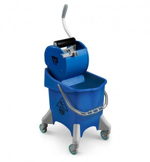 Ведро на колесах TTS Pile 30 с отжимом Dry, синее