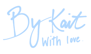By Kait With Love blue cursive logo