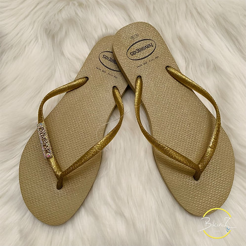 HAVAIANAS SLIM GLOSS GOLD CUSTO SILVER