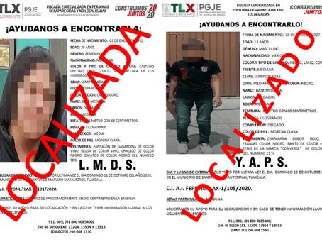 PGJE LOCALIZA A UNA MUJER Y UN MENOR DE EDAD REPORTADOS COMO EXTRAVIADOS
