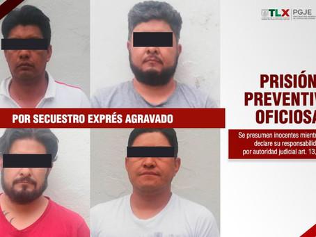 A PRISIÓN PREVENTIVA CUATRO IMPUTADOS POR SECUESTRO EXPRÉS AGRAVADO EN ZACATELCO