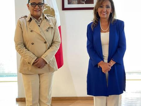Lorena Cuéllar y Rosa Icela Rodríguez Analizan estrategia de seguridad para Tlaxcala