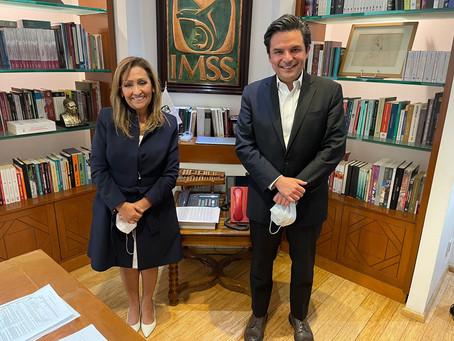 Se reúne Lorena Cuéllar con director del IMSS Zoé Robledo