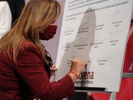 Cuéllar Cisneros firma Carta Compromiso por la Cuarta Transformación
