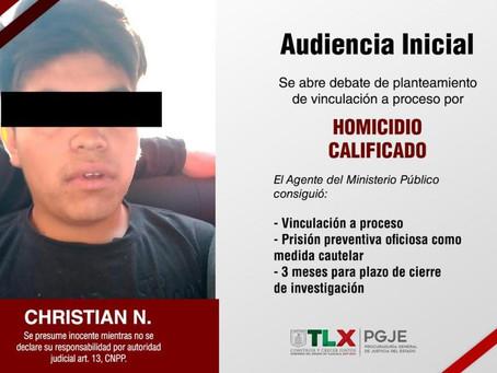OBTIENE PGJE VINCULACIÓN A PROCESO CONTRA IMPUTADO POR HOMICIDIO OCURRIDO EN SAN PABLO DEL MONTE