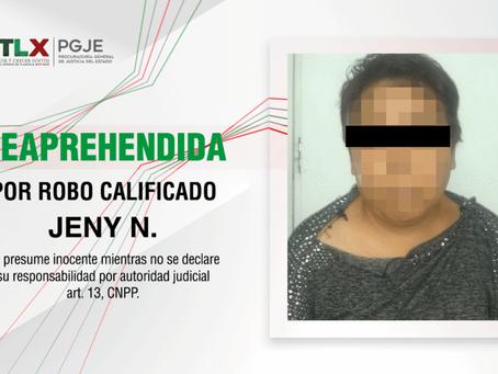 REAPREHENDEN PROCURADURÍA DE TLAXCALA Y FISCALÍA DE EDOMEX A IMPUTADA POR ROBO CALIFICADO