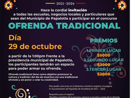 El gobierno municipal de Papalotla abre convocatoria para participar en el concurso de ofrendas 2021