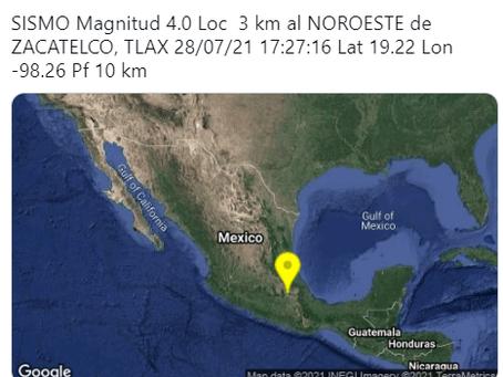 Se registro un movimiento sísmico en Zacatelco prácticamente imperceptible por los habitantes