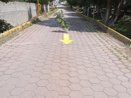 Balizan principales calles de la sección 1era de Zacatelco