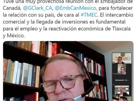 Marco Mena y embajador Graeme C. Clark fortalecen relación Tlaxcala-Canadá