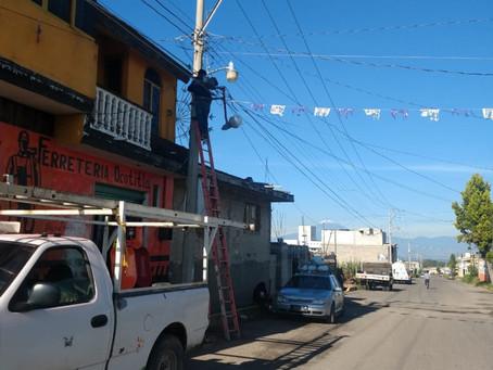 Inicia última etapa de cambio de luminarias en Papalotla