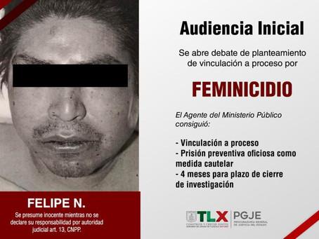 IMPUTADO POR FEMINICIDIO OCURRIDO EN XICOHTZINCO A PRISIÓN PREVENTIVA: PGJE