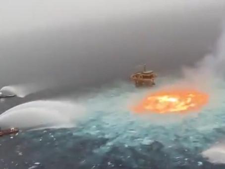 Explota línea de gasoducto de Pemex en el Golfo de México