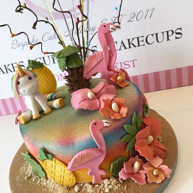 A tropical 🏝 unicorn 🦄 and flamingo th