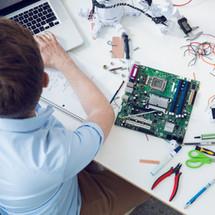 Electrical engineer working on circuit b