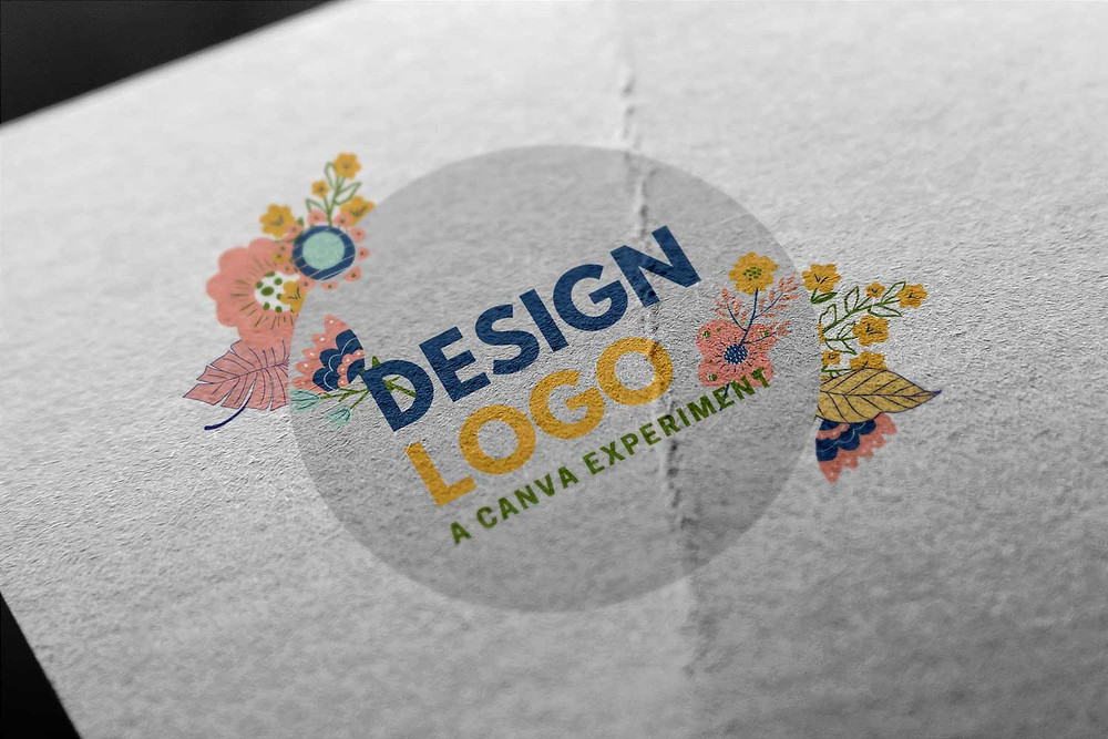 A logo made on Canva Pro, printed on a textured paper background.