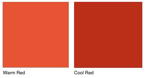 Warm vs cool red.