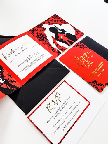 Invitation Design - Brilliant Red with Gold Foiling
