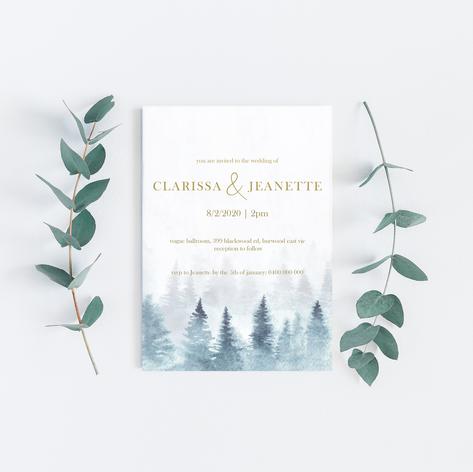 Misty pine forest wedding invitation