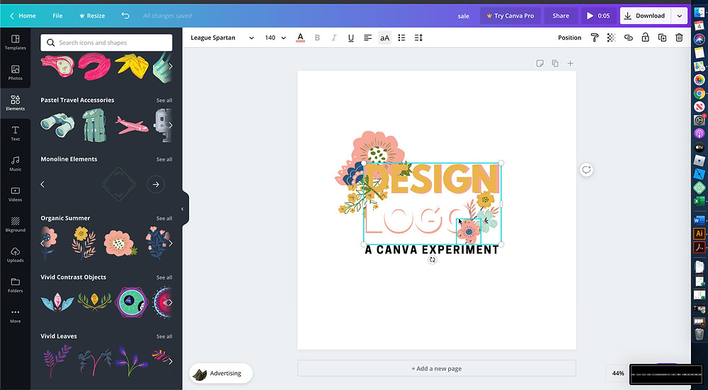 A screenshot of the workspace in Canva as the designer tries to add an outline.