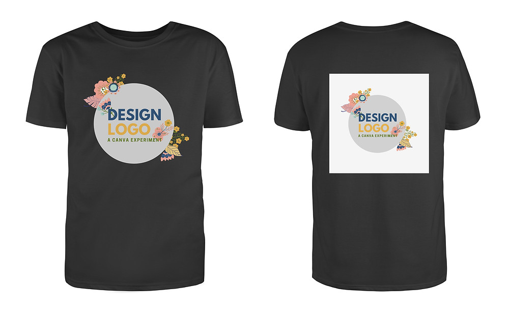 A comparison of a t-shirt design with and without a transparent logo.