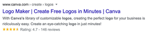 A screenshot of Canva's Google Search result.