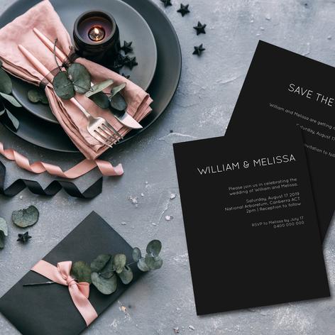 Modern black wedding invitations