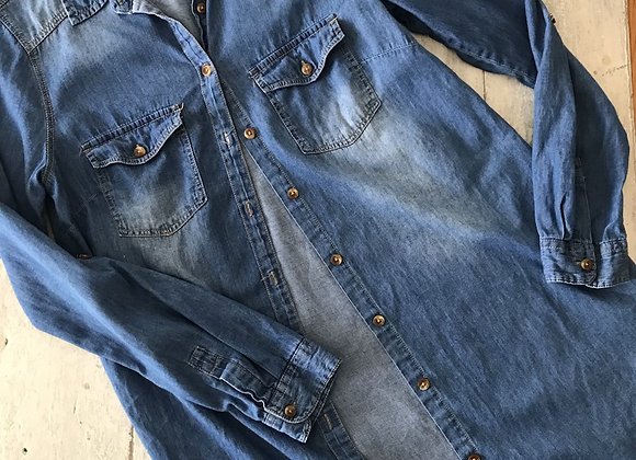 Chemise tunique en jeans médium