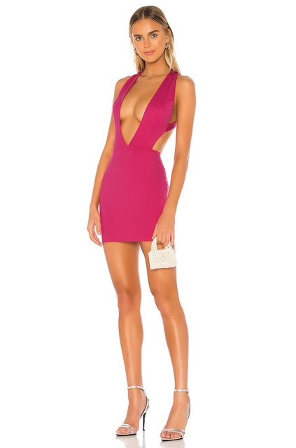 Do not wear plunging neckline on a too short dress