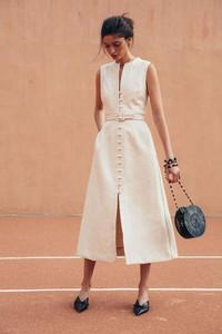 vertical white dress buttons