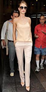 cream colors pants-shoe