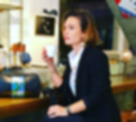 Celine Lamour at a cafe - Modelling a business casual look