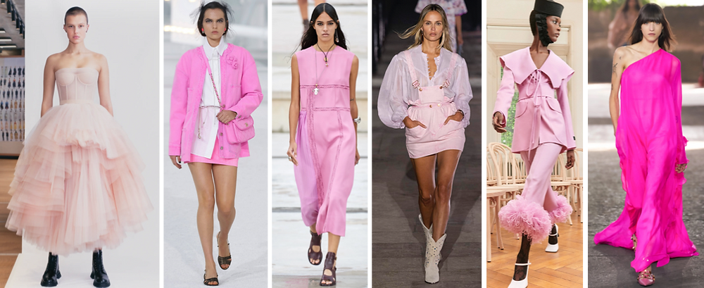 Pink From left to right: Alexander McQueen – Chanel – Chloe – Isabel Marant – Patou - Valentino
