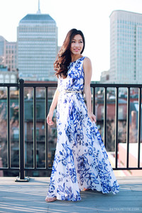 Model in maxi dress