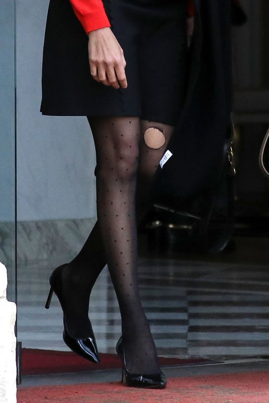 Avoid wearing ripped tights. Check carefully before heading out.